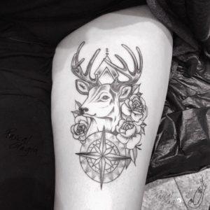 Linework Hirsch Tattoo